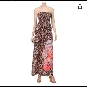 Strapless Cheetah Long Dress